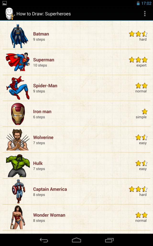 come disegnare heroes-applicazione-android-avrmagazine