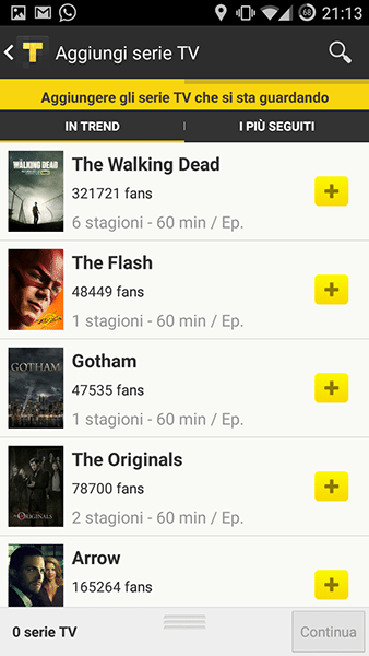 tvshow time-app per Android