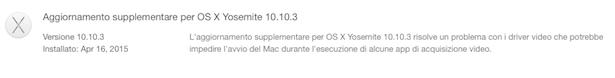 Aggiornamento supplementare OS X 10.3.3