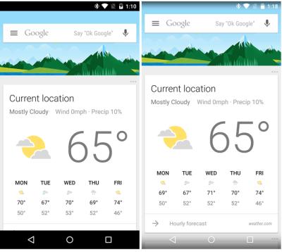 Prima  (a sinistra) e dopo (a destra) l'aggiornamento