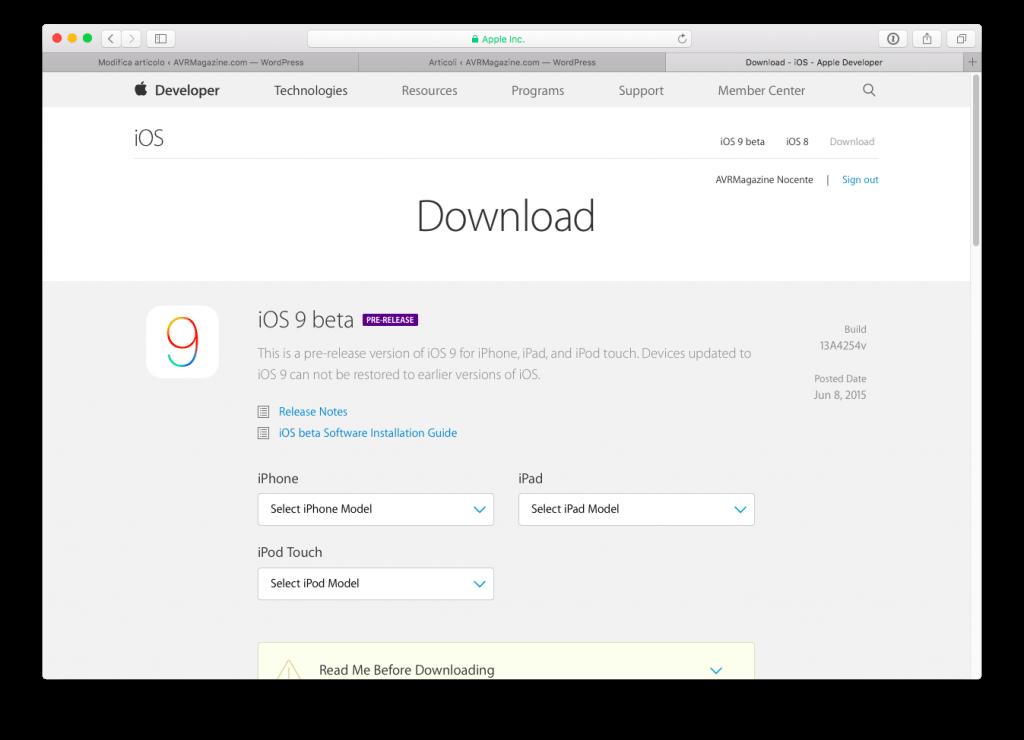 Come installare iOS 9 avrmagazine